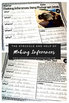 Scaffold Making Inferences for students! Tips, ideas, resources and more for teachers and parents to help students with Making Inferences! Also includes practice with written comprehension! Reading Resources, Reading Strategies, Reading Activities, Reading Skills, Reading Centers, Study Skills, Cloze Reading, Guided Reading, Teaching Reading