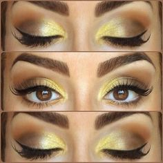 A pop of bright gold on a neutral eye