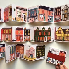 A miniature Concertina street.The second edition.Hand bound and a limited edition.A celebration of the different styles of houses and buildings from around the UK. Concertina Book, Accordion Book, Building Illustration, Children's Book Illustration, Different House Styles, Bg Design, Posca Art, Guache, Wow Art