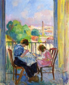 Sewing at the Window by Henri Lebasque  (France)