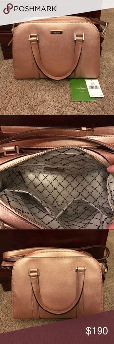 Authentic Kate Spade Handbag 💕EUC. Small Felix Newbury Lane in Rose Gold. Absolutely adorable handbag! Only used for a brief time! In EXCELLENT condition!UPDATE: While looking for any scratches on the gold emblem of the wallet for a customer, I decided to check out the emblem on the purse. I noticed that there IS a small scratch on the top corner of the emblem on the purse! Not very noticeable, but...full disclosure! ***This closet does NOT trade. Please do not ask. Thanks!*** kate spade…