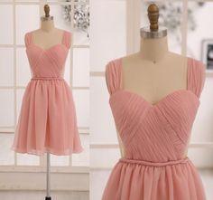 Blush Pink/Champagne Chiffon Bridesmaid dress/Prom by misdress, $85.99