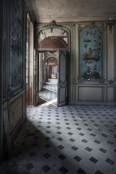 Great rooms in an abandoned chateau.