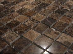Dark Emperador 1x1 X 6mm Polished Mosaic Stone Tile. | www.glasstilehome.com