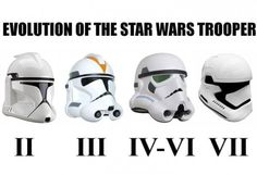 Evolution of the Star Wars stormtrooper, from Episode II through VII Star Wars Art, Star Trek, Geeks, Stormtroopers, Star Wars Helmet, Episode Vii, Star War 3, The Force Is Strong, Clone Trooper