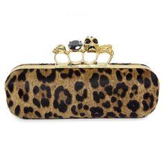 e994336b0f7dd Alexander McQueen Leopard Print Ponyhair Long Knuckle Box