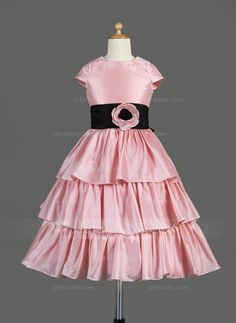Flower Girl Dresses - $128.69 - A-Line/Princess Scoop Neck Tea-Length Taffeta Flower Girl Dress With Sash Flower(s) (010014645) http://jjshouse.com/A-Line-Princess-Scoop-Neck-Tea-Length-Taffeta-Flower-Girl-Dress-With-Sash-Flower-S-010014645-g14645?ver=xdegc7h0