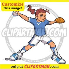 Fastpitch Softball Pitcher clipart cartoon - Clipartman.com