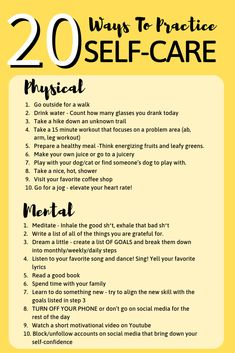 20 Ways To Practice Self-Care - Joanna Rahier.Self Care – Soul Nourishing Af. - 20 Ways To Practice Self-Care – Joanna Rahier…Self Care – Soul Nourishing Affirmations, Route - 15 Minute Workout, Self Care Activities, Wellness Activities, Self Improvement Tips, Self Care Routine, Self Development, Personal Development, Take Care Of Yourself, How To Improve Yourself