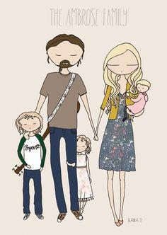Family portrait, bespoke family portrait, custom illustration via Etsy