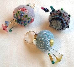 Pincushion rings, hand embroidered, decorative pins