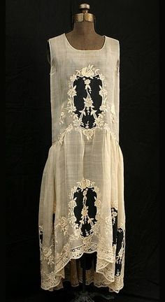 "ephemeral-elegance: "" Embroidered Cotton Voile Dress, ca. 1923 Vidalou """