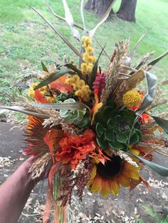 Rustic Autumn Sunflowers Wildflower Succulents Protea Thistle Burlap Bridal Bouquet & Matching Boutonniere, Fall Wedding-READY MADE