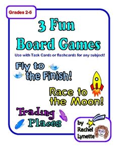 Free game boards to use with task cards or flash cards in any subject!