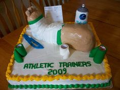 Next birthday cake? I live this, so appropriate for me! Graduation Cap Decoration, Graduation Cake, Medical Party, Trunk Party, Athletic Trainer, Sports Medicine, Grad Parties, Trainers, Birthday Cake