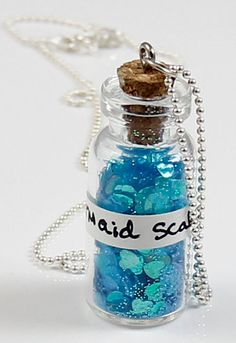 Mermaid Scales Bottle Necklace - Miniature Vial Necklace. $22.00, via Etsy.