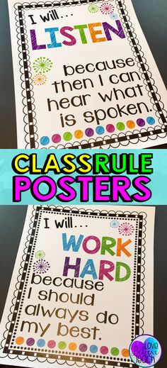 Classroom Rules Posters (Class Rules Posters) Classroom rules for elementary students, but with a twist. They encourage your students to think more deeply about their behavior and what you expect from them. A great class rules poster set that focuses on a 3rd Grade Classroom, Classroom Behavior, Future Classroom, School Classroom, Classroom Ideas, Elementary Classroom Rules, Neon Classroom Decor, Clean Classroom, Apple Classroom