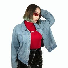 ca2afeecf0ff5 The Bedazzled Me Denim jacket! This gem is so iconic I want - Depop Denim