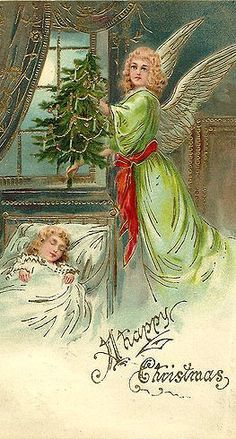 """""""Happy Christmas """"...An angel with a Christmas tree by a sleeping child, antique postcard."""