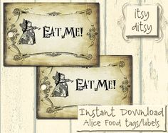 Alice in Wonderland 'Eat me' labels / tags by itsyditsydesigns, $3.00