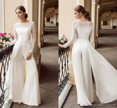 Discount 2020 New Arrival Wedding Paints Suits Dresses Bateau Illusion Long Sleeves Beaded Ribbon Applique Long Cheap Wedding Dress Bridal Gowns New A Line Gown Affordable Bridal Gowns From Stunningdress88, $91.21  DHgate.Com Sheer Wedding Dress, Classic Wedding Dress, Lace Wedding, Bridal Jumpsuit, A Line Gown, Stunning Dresses, Buy Dress, Bridal Dresses, Affordable Bridal
