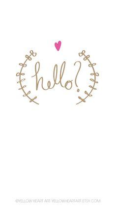 Minimal white gold Vines wreath heart Hello iphone wallpaper phone background lockscreen