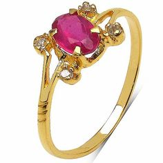 Online Jewellery designs shopping? 0.75CTW Genuine Ruby & White Diamond 10K Yellow Gold Ring