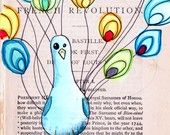 lime and violet spring owl --- 5x7 print of an original drawing on vintage French book page --- high quality card stock print. $8.00, via Etsy.