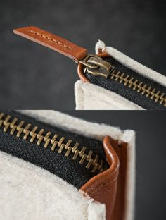 Laptop Felt and Leather Folio Case Hand-made
