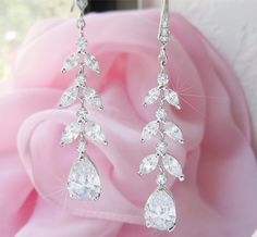 Long Crystal Wedding Earrings Leafy Vine Jewelry