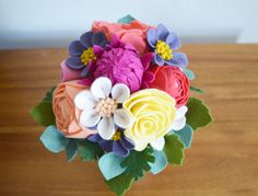 Heirloom Felt Flower Bouquet | Ranunculus, Cabbage Rose, Wildflower, Tea Rose, Dahlia | Mother's Day, Wedding, Bridal | Ready To Ship