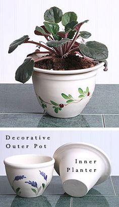 African Violet Pot - Self Watering... How cute! @Linda Quinn