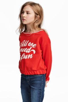 Baskılı Sweatshirt - Parlak kırmızı - Kids | H&M TR 1
