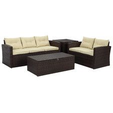 Rio 4 Piece Deep Seating Group with Beige Cushion