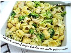 Pasta, chicken and broccoli salad with creamy pesto sauce