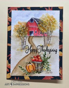 Creations by Dot J.: Hello, I made this Thanksgiving card using Art I...