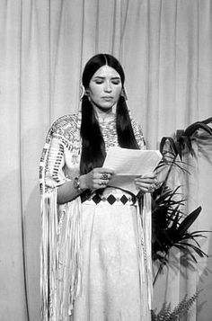 """Sacheen Littlefeather speaking for Marlon Brando, during the Siege at Wounded Knee, 1973. He refused to be present to accept the Oscar for """"The Godfather"""" in order to draw attention to the crisis at Pine Ridge Reservation. Video here:  https://www.youtube.com/watch?v=2QUacU0I4yU"""
