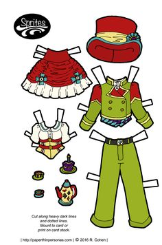 Sprites: Alice & Mad Hatter costumes / Paper Thin Personas | Two paper doll outfits- one for Alice consisting of a red and white skirt and a yellow corset over a white blouse. and one for the Mad Hatter consisting of a pea-green suit, red top hat and purple and blue vest.