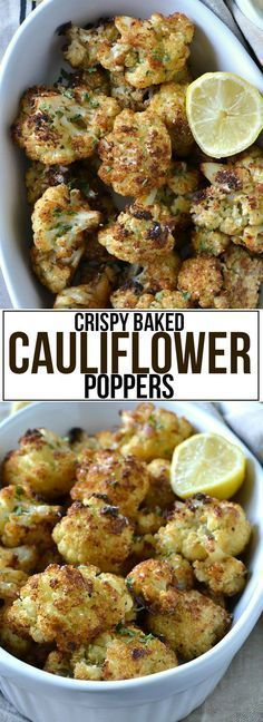 Crispy Baked Cauliflower Poppers - Mother Thyme - Yemek Tarifleri - Resimli ve Videolu Yemek Tarifleri Vegetable Dishes, Vegetable Recipes, Vegetarian Recipes, Cooking Recipes, Healthy Recipes, Baked Veggie Recipes, Healthy Snacks, Cauliflower Poppers, Cauliflower Recipes