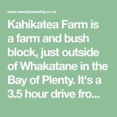 Kahikatea Farm is a farm and bush block, just outside of Whakatane in the Bay of Plenty. It's a drive from Auckland, and approximately one hour from Rotorua and Tauranga. Auckland, The Outsiders, Exploring, Explore, Research, Study