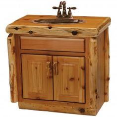 "Cedar 30"" Vanity (Sink Center) - With 'Liquid Glass Finish' Slab Top"
