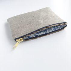 Organic coin purse Organic Hemp and cotton purse Floral White