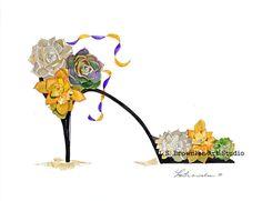 SUCCULENT CACTUS SHOE - PAINTED DESERT  - ORIGINAL WATERCOLOR  L.S. BROWNLEE #whimsical