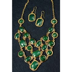 Statement Necklace Trend Fashion Luxury Woman Necklace Gold & Emerald