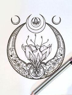 Adult Kids Coloring Page crescent Moon Original Lotus Flower Nature Art - Moyiki Sites Kunst Tattoos, Tattoo Drawings, Coloring Pages For Kids, Kids Coloring, Coloring Book, Symbole Tattoo, Faith Tattoo On Wrist, Hamsa Tattoo, Sanskrit Tattoo