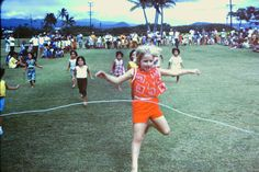 My sister winning the girls race at Pearl Harbor park in 1969.