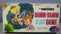 Vintage 1963 Transogram The Flintstones Bamm-Bamm Color Me Happy Board Game RARE