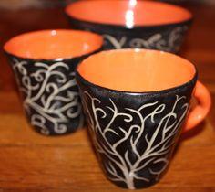 colorful sgraffito tree mug