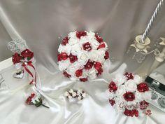 Dark Red, Bouquet, Wedding Ideas, Artificial Wedding Flowers, Bride, Bridesmaid