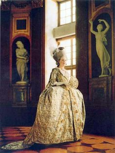 """Mantua - 18thC inspired costume from the """"Gustavian"""" era 1768-1792 . (c) Duran Textiles. Swedish 18th century textiles reconstructed in India then costumes fashioned in Sweden."""
